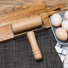 Solid wood rolling pin baking pizza dumpling skin roller with handle pressure rod