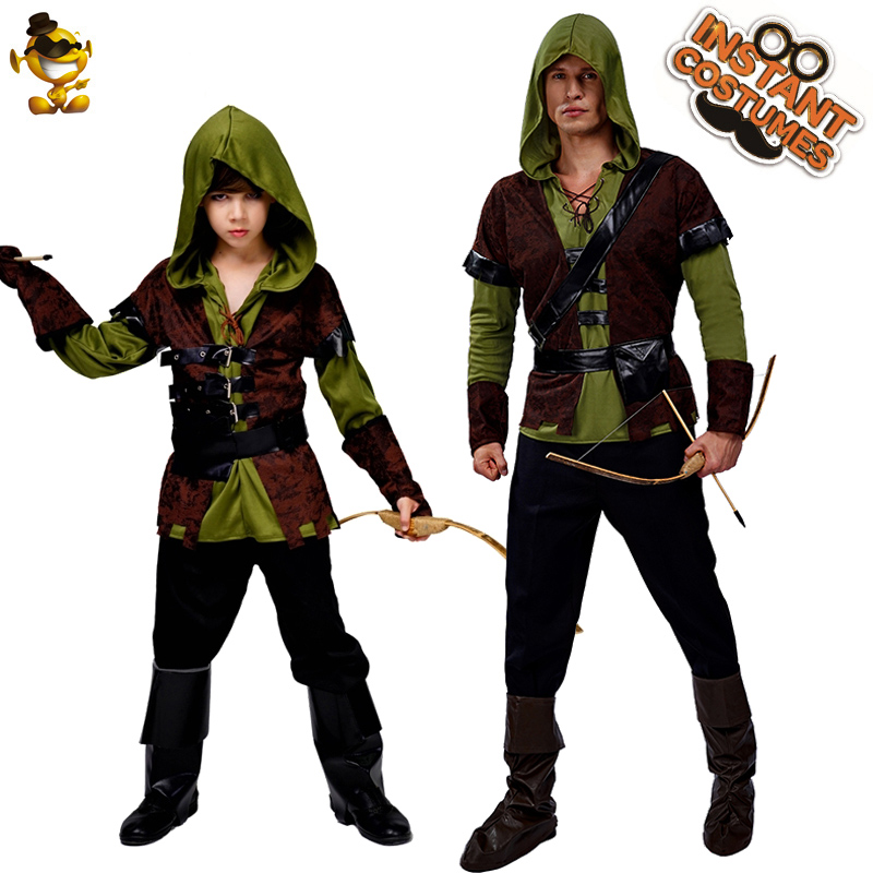 Halloween Party Men's& Boy' Robin Costumes Suit Masquerade Carnival Robin Hood Cosplay Purim Costumes For  Man&Kids
