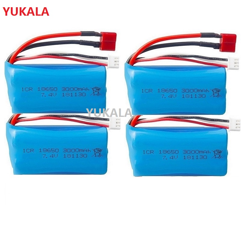 YUKALA (T plug ) Wltoys 10428 12429 12423 Q46 12401 12402 12402-A 12402A RC Car Parts 7.4V <font><b>3000MAH</b></font> <font><b>lipo</b></font> Battery <font><b>2S</b></font> 18650 image