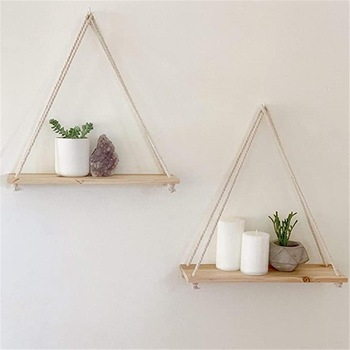 Premium Wood Swing Hanging Rope Wall Mounted Floating Shelves Plant Flower Pot indoor outdoor decoration simple design 1