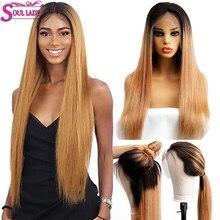 Dusza Lady 1b 27 13x4 Ombre blond koronki przodu włosów ludzkich peruk dla czarnych kobiet Indian prosto remy włosy peruka 150% 180% gęstości