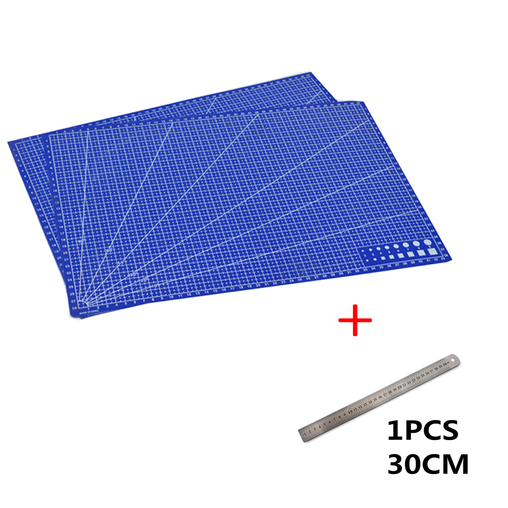 1Pcs A3 Pvc Rectangular Cutting Mat Grid Line Tool Plastic 45cm * 30cm With 20CM 30CM Iron Ruler Fast Delivery 20cm 30cm