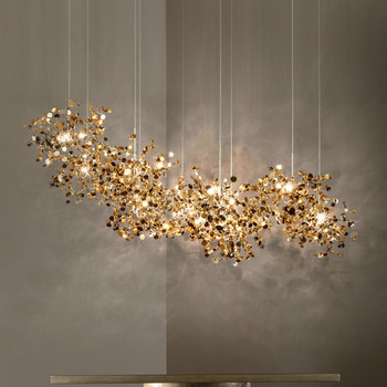 Nordic modern personality stainless steel chrome leaf LED chandelier living room lamp bar table lamp dining room chandelier nordic iron lamp living room dining table lamp modern magic bean glass ball creative personality dining room bedroom chandelier