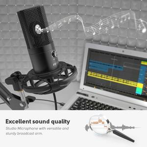 Image 3 - FIFINE Studio Condenser USB Computer Microphone Kit With Adjustable Scissor Arm Stand Shock Mount for YouTube Voice Overs T669