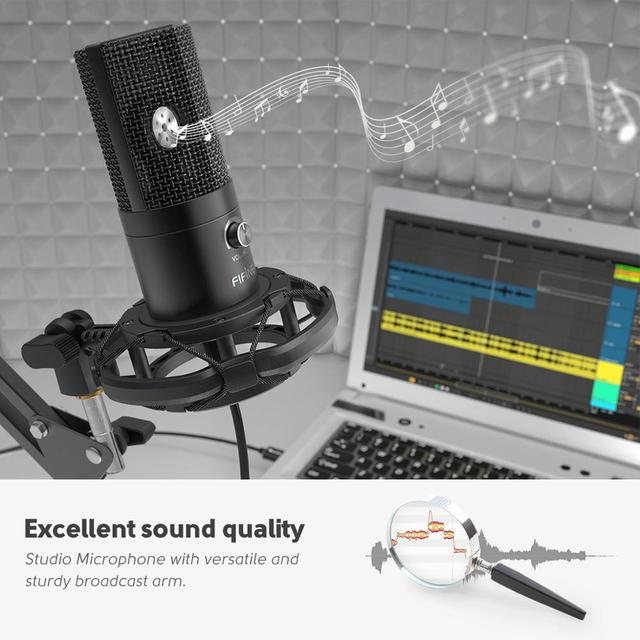 FIFINE Studio Condenser USB Computer Microphone Kit With Adjustable Scissor Arm Stand Shock Mount for YouTube Voice Overs-T669 2