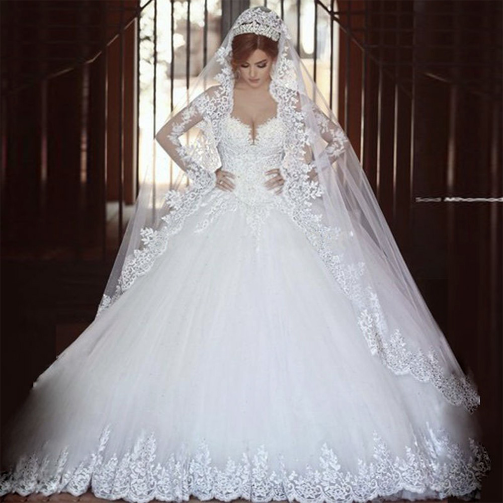 Fansmile Vestido De Noiva Vintage Full Sleeves Lace Wedding Dress 2020 Luxury Ball Gown Princess Bridal Wedding Gowns FSM-026T