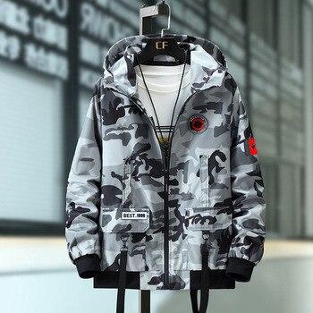 Plus Size 7XL 8XL 9XL 10XL Overalls Jacket Men Camouflage  Jacket Men Autumn Fashion Casual Streetwear Hooded Multi-Pocket Coat