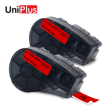 UniPlus 2PK M21-750-595-RD Label Maker for Compatible Brady BMP21-Plus Idpal Labpal Black on Red Vinyl Tapes Stickers