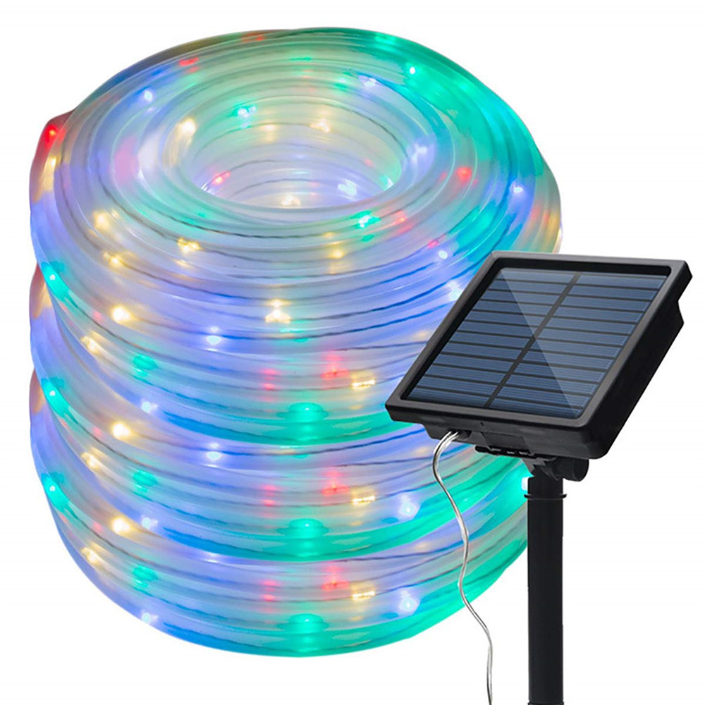 50 100 LEDs Solar Powered Rope Tube String Lights Outdoor Waterproof Fairy Lights Garden Garland For Christmas Yard Decoration
