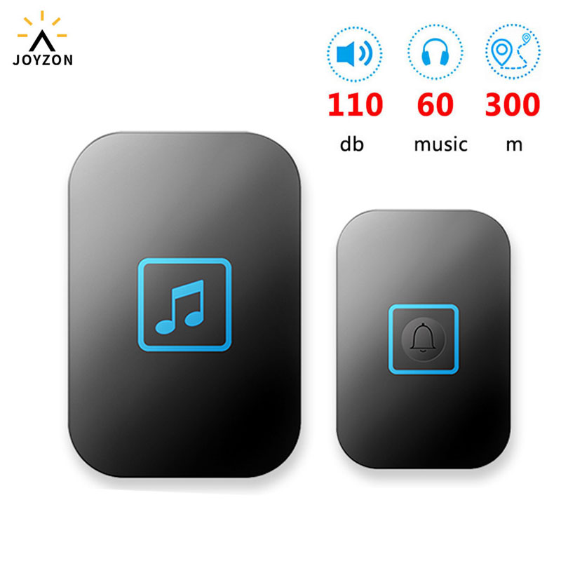 JOYZON 60 Chime 110DB Wireless Doorbell Waterproof 300M Remote EU AU UK US Plug Home Door Bell Battery 1 Button 1 2 Receiver