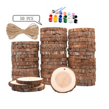 50 Pcs 3 Size Round Wood Slices with Hole Natural Pine Bulk Unpolished Decoration Hanging Sign for Painting Gra