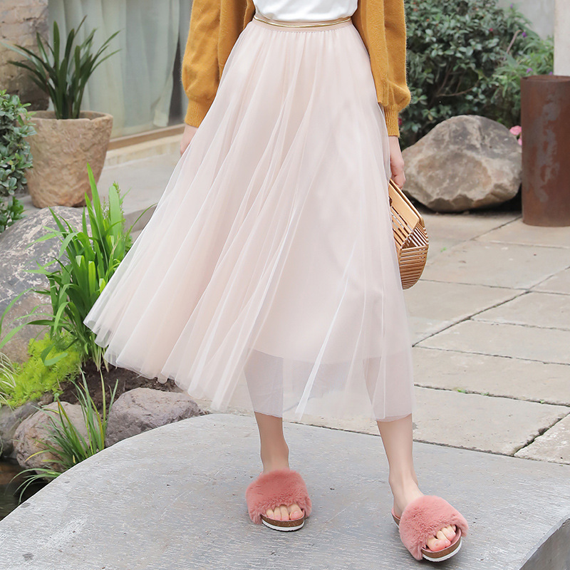 B323 Spring And Summer Gauze Skirt New Style Mid-length Pleated A- Line Gao Yao Qun Women's Slimming With Lining Skirt