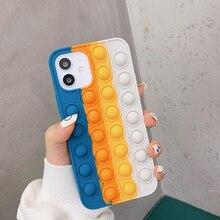Regenboog Siliconen Telefoon Case Voor Iphone Xr Xs 11 12 Pro Max Xr 7 8 Plus Pop Fidget Speelgoed Push het Bubble Zachte Siliconen Telefoon Cover