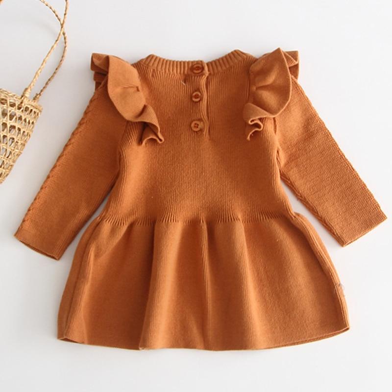 Winter Knitted Dress Autumn Toddler Girl Dresses For Female Babies Infant Warm Dress Knitted Sweater Kids Dresses For Girls 2
