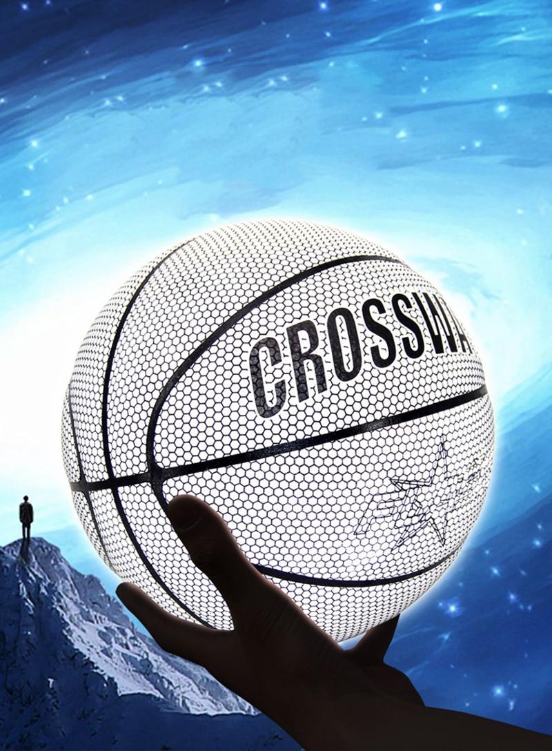 Голографический светоотражающий баскетбольный мяч износостойкий светящийся ночной Светильник баскетбольный светящийся баскетбольный мяч с сумкой-5