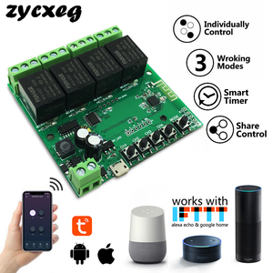 Image 1 - Tuya Wifi Relay 12v Module 4CH Wireless Switch Smartlife APP Remote Control Smart Timer for Smart Home with Alexa Google Home