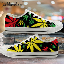 Jackherelook 2020 Jamaica Colorful Hemp Leaf Print Men Canvas Shoes
