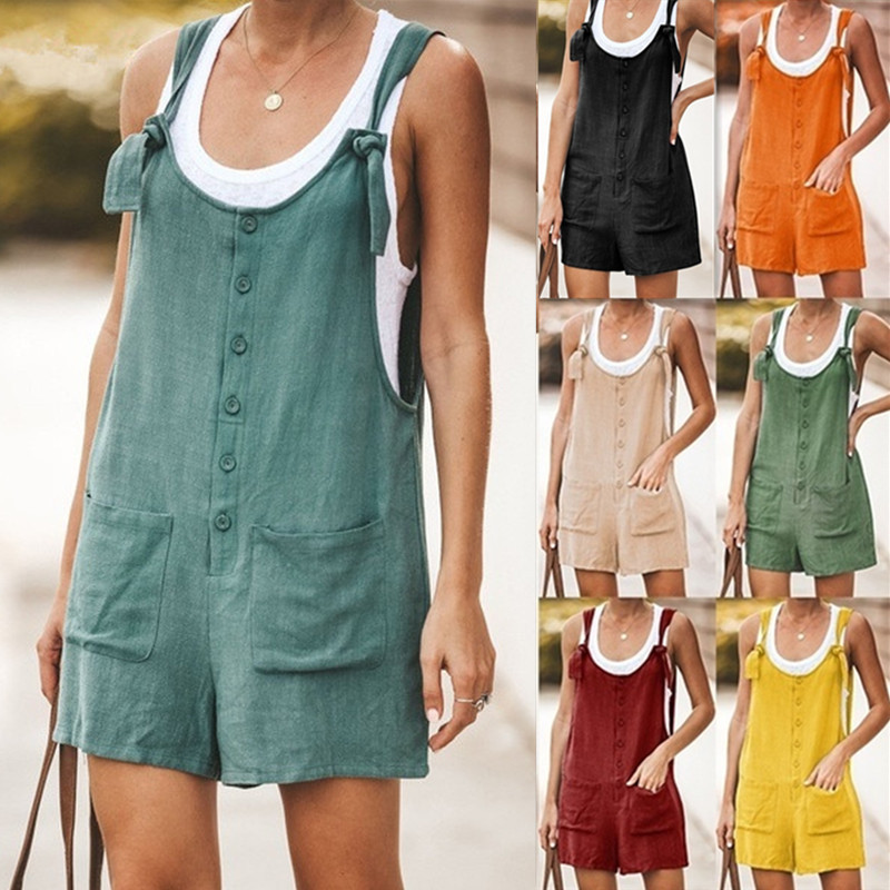 Women Short Solid Button Pocket Jumpsuits Sleeveless Cotton And Linen  Wide Leg Playsuit Casual Loose Backless Straps Rompers