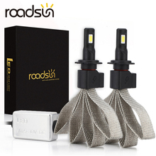 Roadsun lâmpadas de farol automotivo led, h4, h7, 9005, h11, h8, h9, hb1, hb3, 9006, 9007, 880, 12v, 55w 6000k 12000lm/par de lâmpada automática