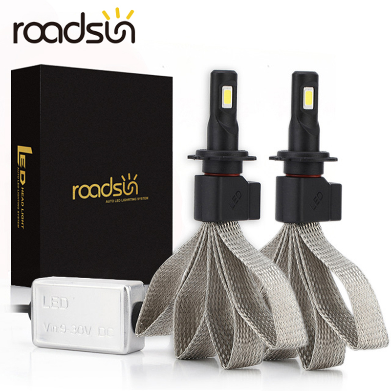 roadsun S7 Car Headlight Bulbs <font><b>LED</b></font> H4 <font><b>H7</b></font> 9005 H11 H8 H9 HB1 HB3 9006 9007 880 12V <font><b>55W</b></font> 6000K 12000LM/Pair <font><b>Lamp</b></font> Auto Bulb Light image