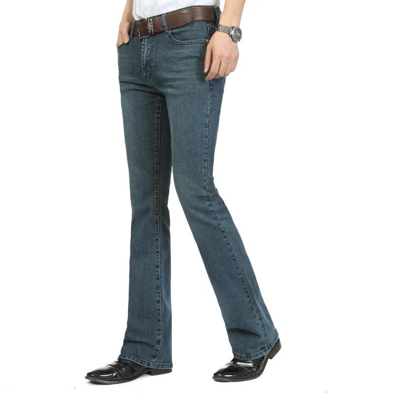 Idopy Mens Bell Bottom   Jeans   Business Blue Mid Waist Slim Fit Boot Cut Semi-flared Flare Leg Denim Pants Plus Size For Male