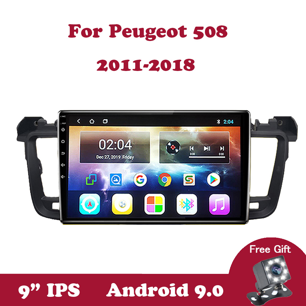 <font><b>Android</b></font> 9.0 IPS Car Radio For <font><b>Peugeot</b></font> <font><b>508</b></font> 2011-2016 2017 2018 <font><b>GPS</b></font> Navigation Multimedia Autoradio Support SWC Canbus Wifi 2din image