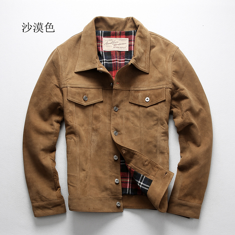 AVFLY New Men Genuine Sheepskin Leather Jacket Fashion Spring/Autumn Single-breasted Suede Sheepskin Denim Jacket Free Shipping