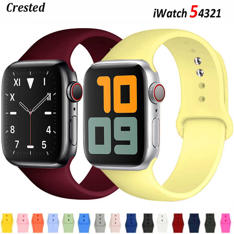 Tali untuk Apple Watch Band 38Mm 42Mm IWatch Aksesoris Olahraga Gelang Silikon Gelang Apple Watch Serie 3 4 5 SE 6 40Mm 44Mm