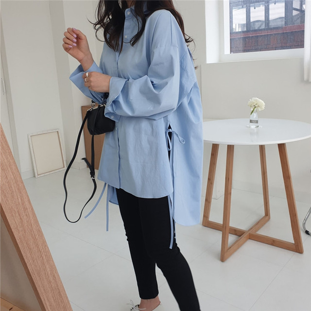 Spring  Sweet Turn-down Collar Womens Tops And Blouses Long Sleeve  Sweet Side Split Plus Size Ladies Shirt 4