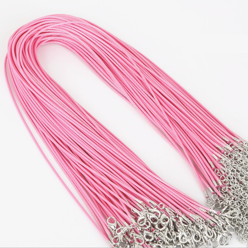 (100 Pieces) 43cm Plus 5cm Extension Chain Woven Black Leather Rope Wax Thread Diy Handmade Pendant Necklace Lobster Clasp