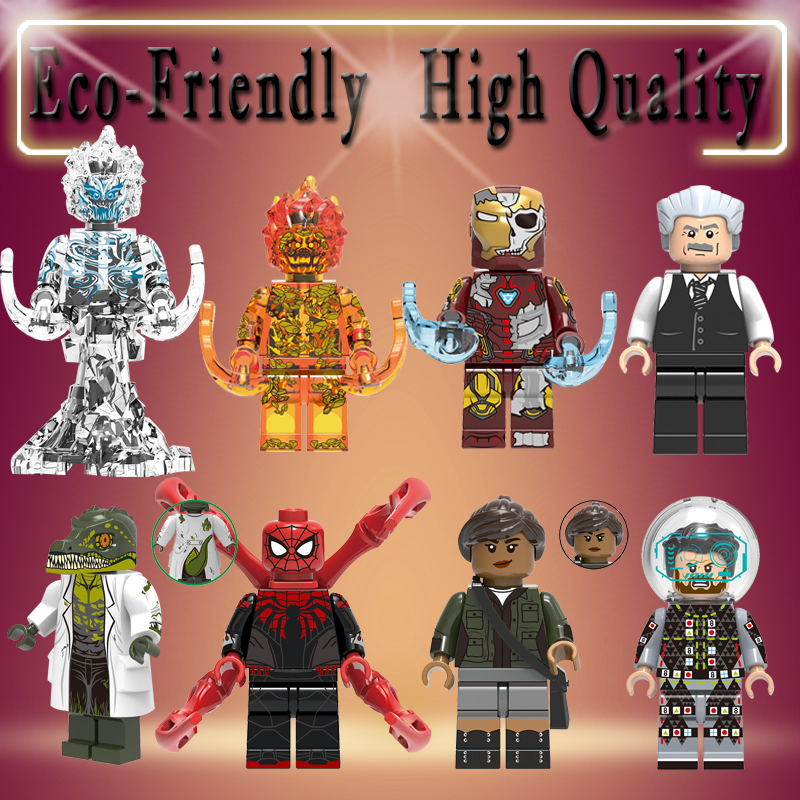 Spider-Man 2 Building Blocks Figures Far From Home Lizard FireElemental Wind Element Mysterio Iron Man Toys Children Gifts X0268