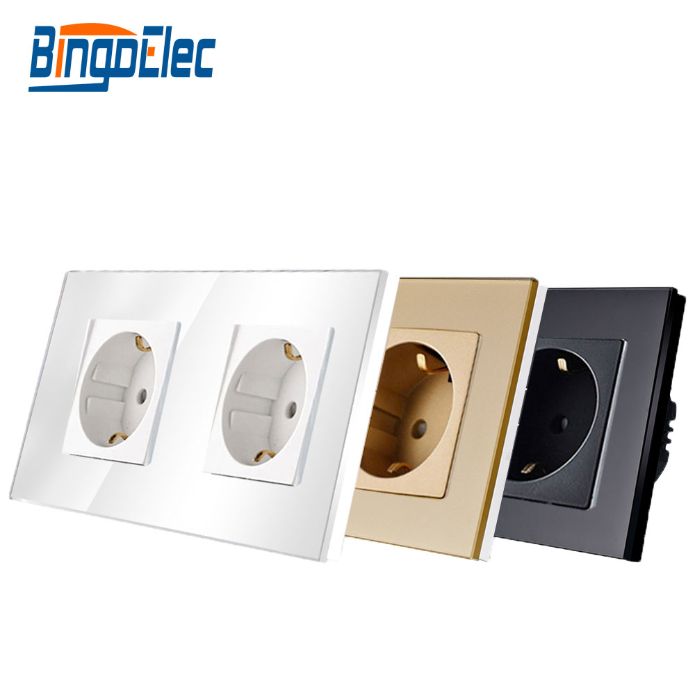 Bingoelec EU Standard Double Power Socket Germany Type 16A Wall Socket White Crystal Toughened Glass Panel 86 157mm 220V AC