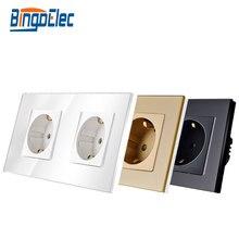 Bingoelec padrão da ue tomada de energia dupla alemanha tipo 16a parede soquete branco cristal painel vidro temperado 86*157mm 220v ac