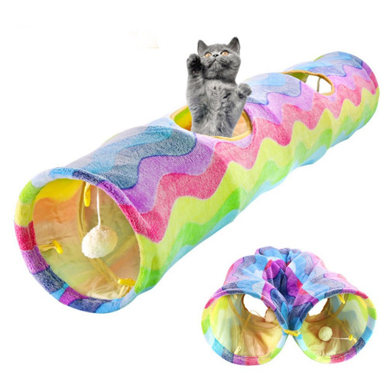 Practical Cat Tunnel Pet Tube Collapsible Play Toy Indoor Outdoor Kitty Puppy Toys for Puzzle Exercising Hiding Training image