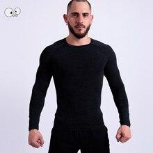 Высокоэластичная компрессионная спортивная футболка с длинным рукавом, топы для мужчин, быстросохнущая футболка для бега, бодибилдинг, футболка для спортзала Рашгард для фитнеса