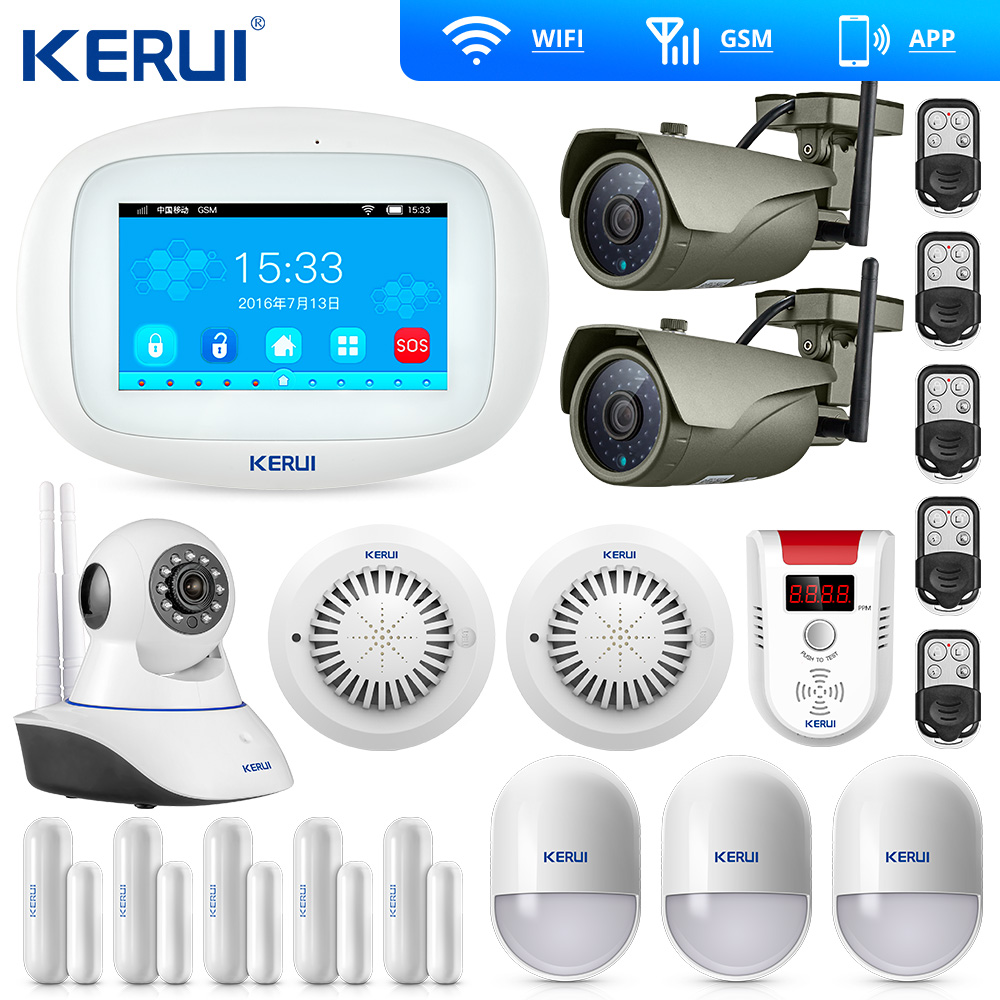 KERUI Wifi Home Alarm GSM TFT Color Display WIFI GSM Alarm System Home Alarm Security Gas Sensor Wifi Camera IP Burglar Alarm title=