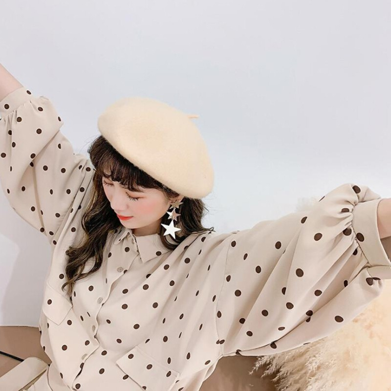 Korean Style Loose Casual Polka Dot Pattern   Blouse   Fashion Sweet Long-sleeved Women's   Shirt