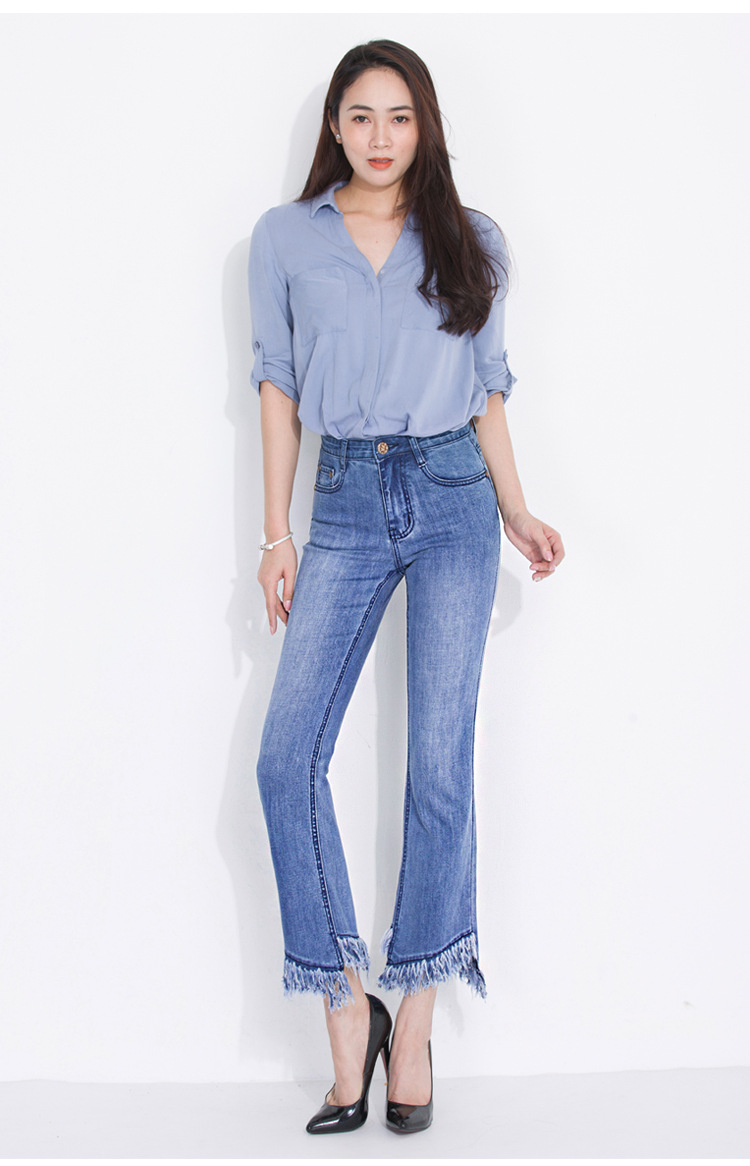 KSTUN FERZIGE jeans woman high waist jeans stretch blue spring and summer ankle length pants tassels flares women's clothing 12