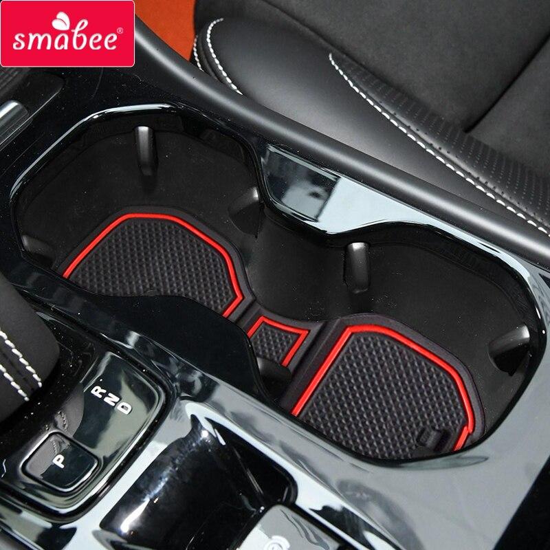 Smabee Car Anti-Slip Gate Slot Mat For Volvo XC40 2019 2020 Interior Accessories Cup Holders Non-slip Mats Car Sticker Coaster