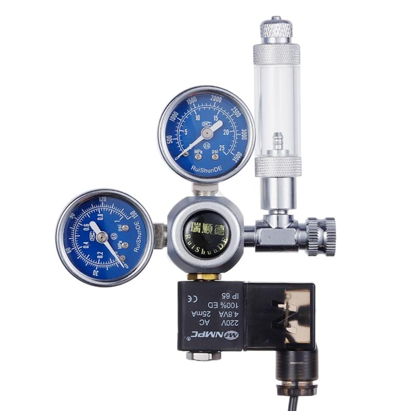 Aquarium CO2 Regulator Solenoid Valve Kit Bubble Counter Fish Tank DIY CO2 Control System Reactor Generator Pressure Reducing