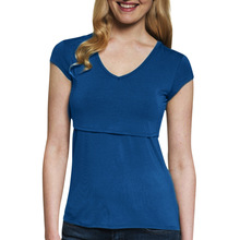 Women Multi-Functional Breastfeeding Pregnant T-Shirt Clothes Nursing Maternity Short Sleeve Plus Size S-5XL