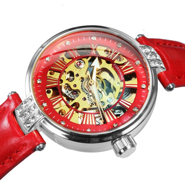 FORSINING New Fashion Vintage Mechanical Women Watches Top Brand Luxury Gold Skeleton Leather Strap Ladies Watch часы женские 3