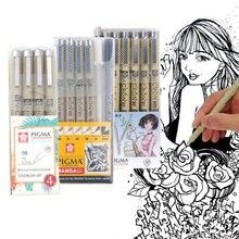 Caneta de agulha de esboço sakura, caneta de pigma preta desenhada à prova d' água