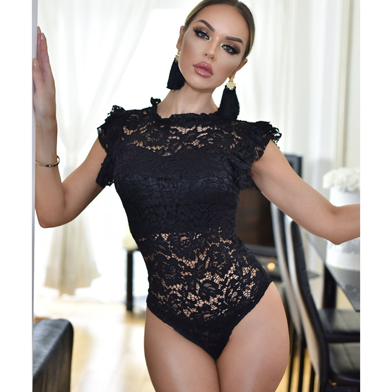 Lace Slim Bodysuits Women Casual O Neck Sleeveless Perspective Summer Solid Black Ruffles Elegant Rompers Ladies Sexy Bodysuits