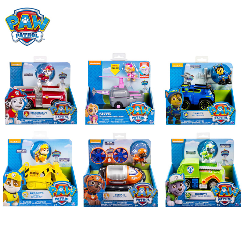 Original Box Paw Patrol Dogs Rescue Vehicle Toy Set Anime Action Figure Model Cars Spin Master Toy Kids Birthday Gift Hot Sale