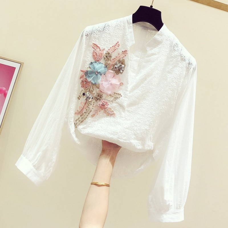 2020 Spring New Sequined Embroidered Flower V-neck Long-Sleeve Shirt Women's Casual Blouses Flower Blouse Woman Ladies White Top