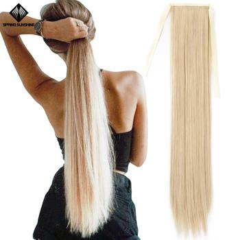 Wiosenne słońce 65cm długie proste blond włosy Clip In Tail sztuczne włosy kucyk Hairpiece syntetyczne doczepy do włosów tanie i dobre opinie spring sunshine Wysokiej Temperatury Włókna 100 g sztuka 1 sztuka tylko Clip-in Pure color Ponytail 22inch 26inch 100g+-5g