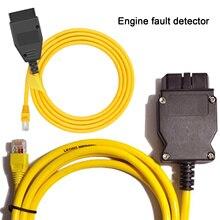 Kaliteli E SYS ENET kablosu BMW F serisi ICOM OBD2 kodlama teşhis kablosu Ethernet ESYS veri OBDII kodlama gizli veri aracı