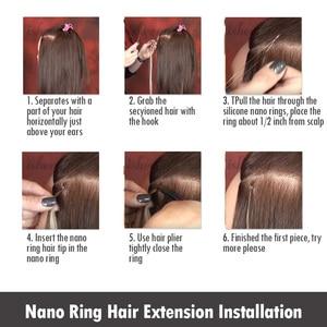 """Image 5 - Isheeny 14 """"18"""" 22 """"Remy boncuklu postiş saç ekleme Nano halka linkler insan saçı düz 9 renkler sarışın avrupa saç"""