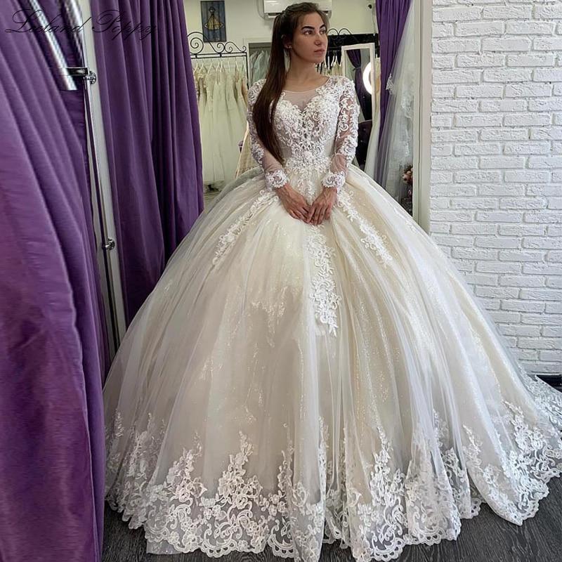 Lceland Poppy A-line Wedding Dresses Scoop Neck Long Sleeves Floor Length Beaded Apliques Vestido De Novia Bridal Gowns
